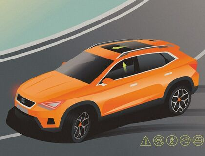 Illustration des Pre-Crash Assist im neuen SEAT Ateca