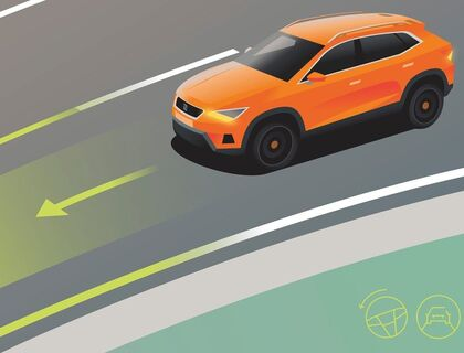 Illustration des Fahrassistenzsystem Travel Assist im SEAT Ateca