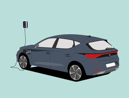 Illustrierter SEAT Leon und Wallbox