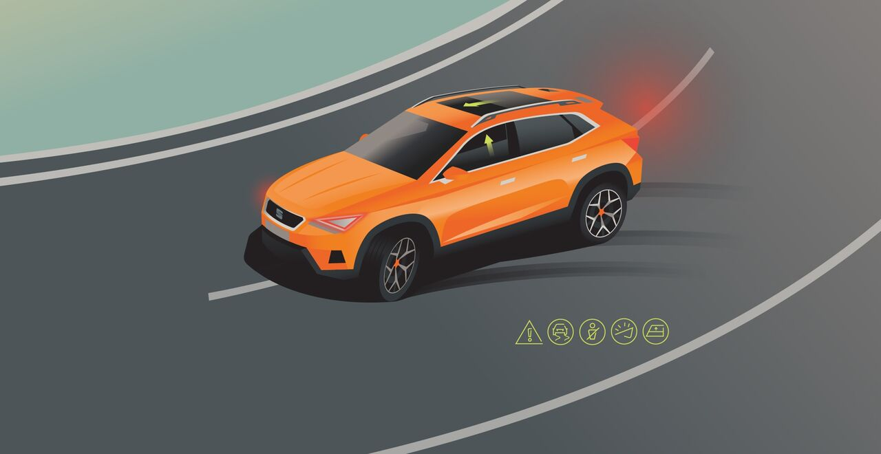 Illustration des Pre-Crash Assist-Systems im Seat Ateca