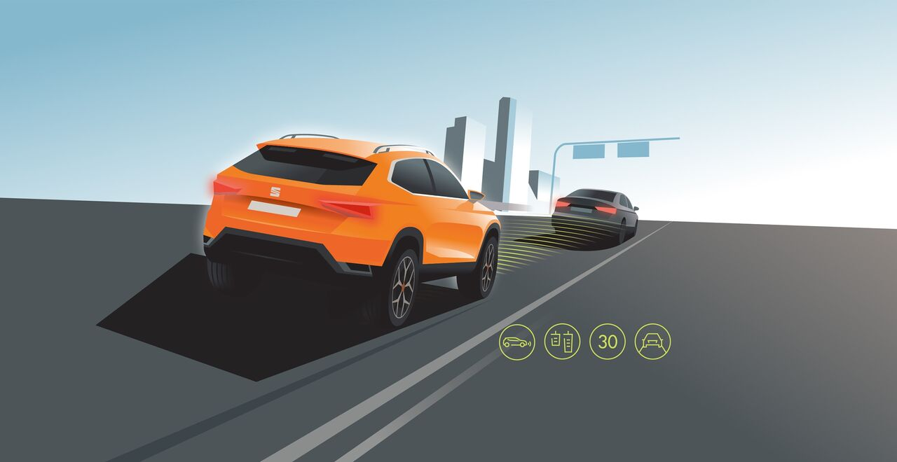 Illustration des Adaptive Cruise Control Sicherheits-Systems des Seat Ateca