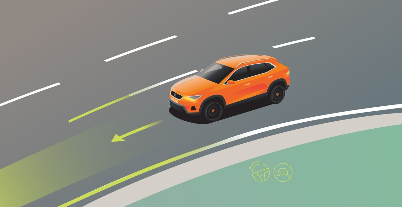 Illustration des Travel-Assist Sicherheits-Features des Seat Ateca