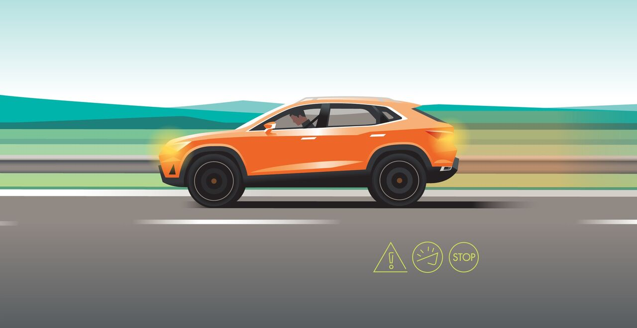Illustration des Notfall-Assist Sicherheits-Features des Seat Ateca